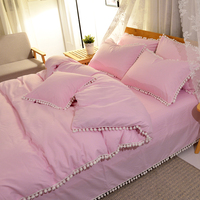 ins网红梨花毛球球绒球简约床单式被套四件套纯色1.5m/1.8米床品