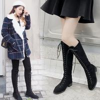 长靴女过膝秋冬季加绒2017新款中跟粗跟靴子女高筒百搭韩版长筒靴