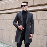 秋冬新款毛呢子大衣男中长款商务休闲外套韩版男潮加厚青年羊毛