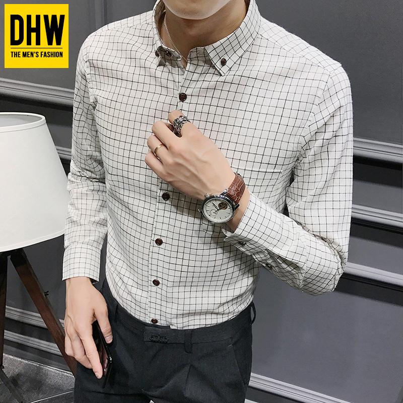 2017冬季潮流男士格子衬衫韩版修身白色衬衣青年学生商务长袖寸衫