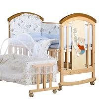 bebivita婴儿床实木无漆环保多功能松木床宝宝BB新生儿床摇篮床