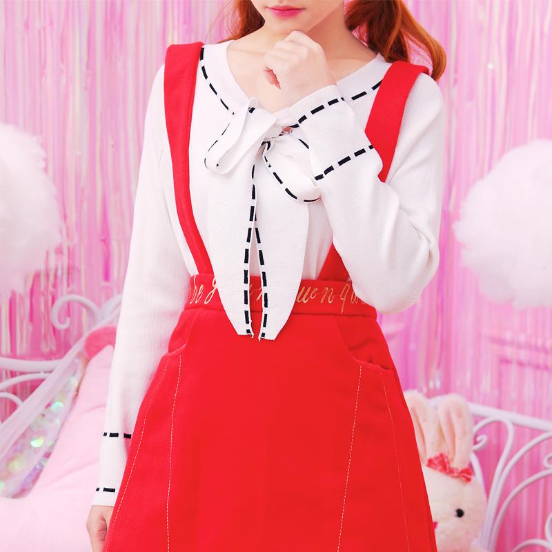 2017冬装日系甜美学院风蝴蝶结领气质长袖针织衫打底衫上衣女装