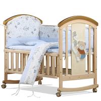 bebivita婴儿床实木无漆多功能欧式宝宝床BB床新生儿摇篮床送蚊帐