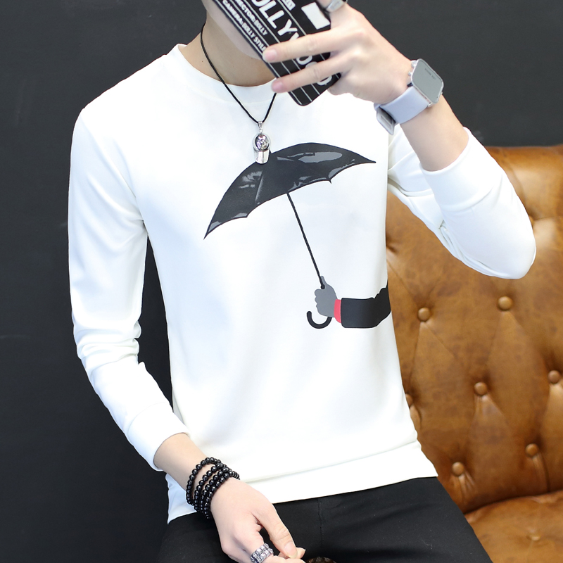 2017春季新款卫衣男青年韩版时尚修身潮男打底衫套头圆领春装T恤