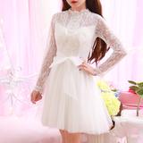 2017春装新款日系气质甜美公主裙钉珠长袖蕾丝收腰连衣裙蓬蓬裙