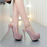 韩版时尚12CM超高跟鞋鱼嘴鞋女防水台镂空扣带夜店性感细跟凉鞋女